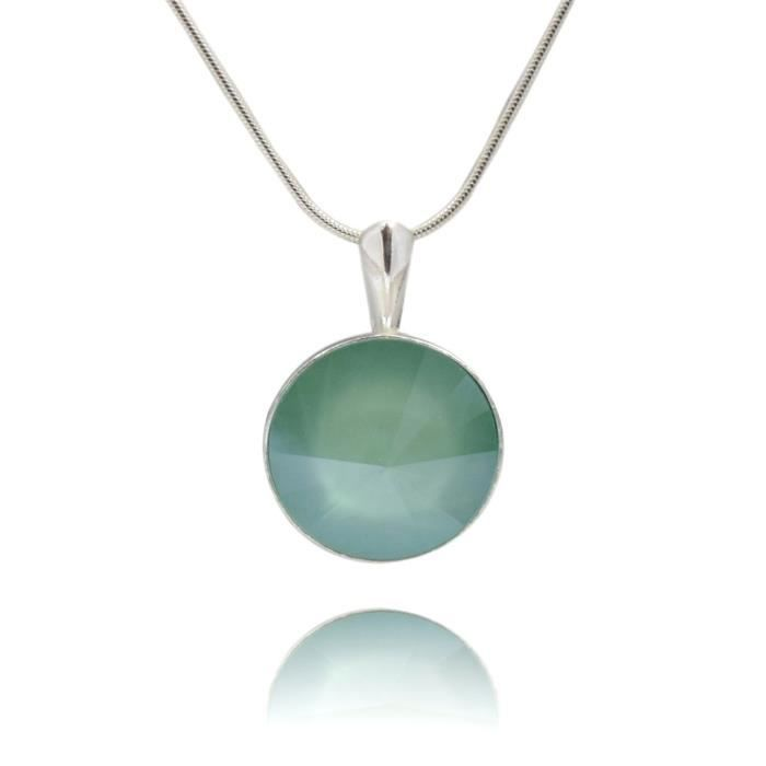 Crystals & Stones * Mint Green * * Rivoli * – Pendentif avec chaîne en argent 925 Argenté avec Swarovski® Elements – Collier avec