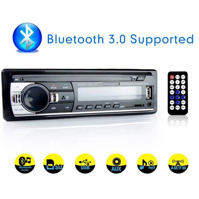 Autoradio stéréo, lecteur MP3 numérique, Bluetooth, 60w x 4, FM, Audio, musique, USB-SD, avec entrée AUX au tableau de [652AB10]