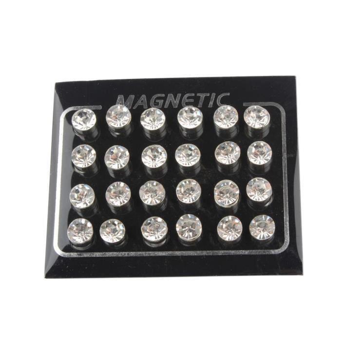 BOUCLE  12 paires hommes femmes unisexe non piercing aimant magnétique boucles d'oreilles dormeuses 7mm