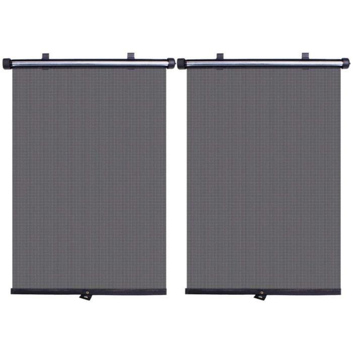 Pare-Soleil de Voiture, 2Pcs Rouleau Pare-Soleil pour vitre latérale (40 x 45 cm) ,Noir Retractable Pare-Soleil Rouleau Rideau 516
