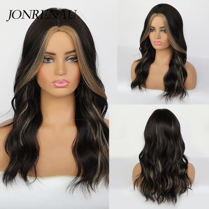 lc279-6 -JONRENAU perruque naturelle ondulée noire brune à Middle Part avec reflets, perruque synthétique naturelle style fête Cosp