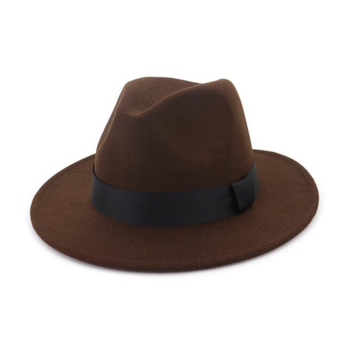 coffee 56to58cm -QBHAT – chapeaux Fedora en laine pour hommes et femmes, à bord plat, décoration en ruban noir, tout simplement unis