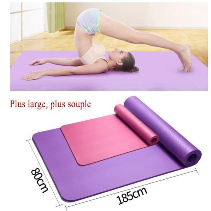 185*80cm Tapis de yoga Large Tapis de Sol Gym Soupe pour Fitness ou Enfant Portable