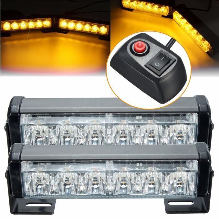 2Pcs 6 LED Feux 12V Ambre Clignotant Détresse Câble
