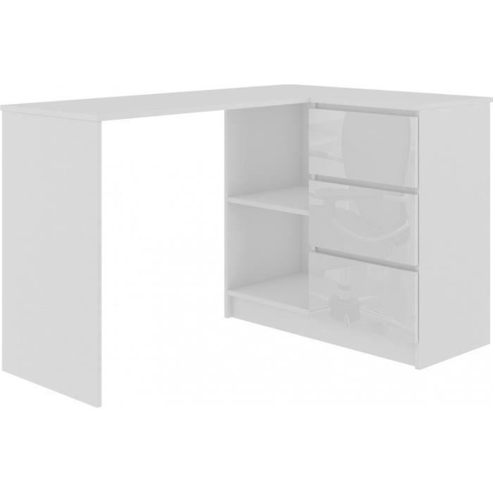 SUNDAR - Bureau informatique d'angle moderne 124x85x77 - 3 tiroirs + 2 grandes niches - Blanc-Laqué