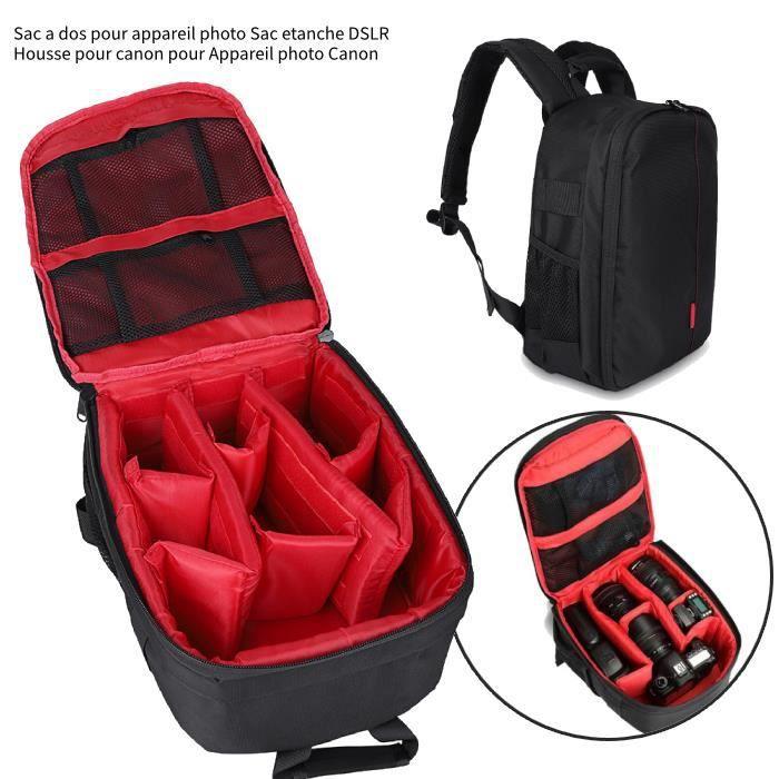 Sac étanche de sac à dos d'appareil-photo de sac à dos de voyage pour Canon Noir & rouge -RAI