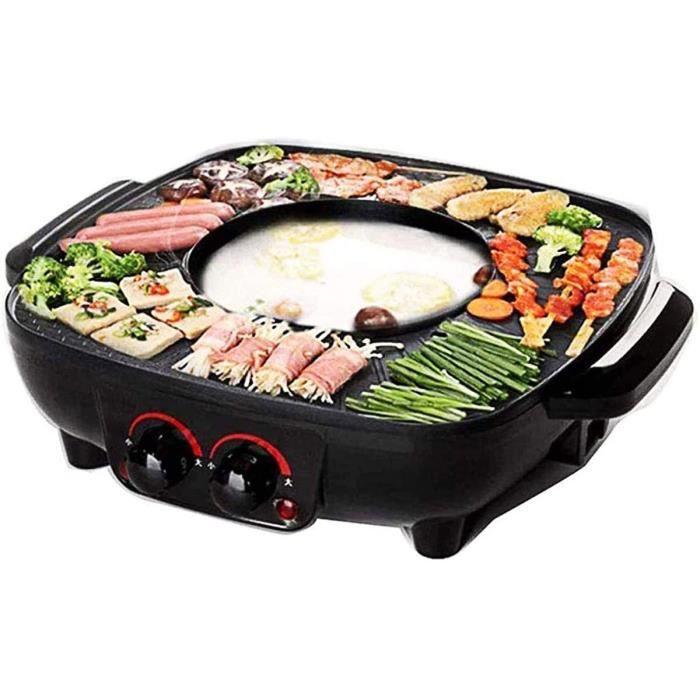 FONDUE ELECTRIQUE i Gril et Marmite Casserole Fondue Electrique Hot Pot BBQ 2 en 1 Grande capaciteacute pour 6 Personnes Controc255