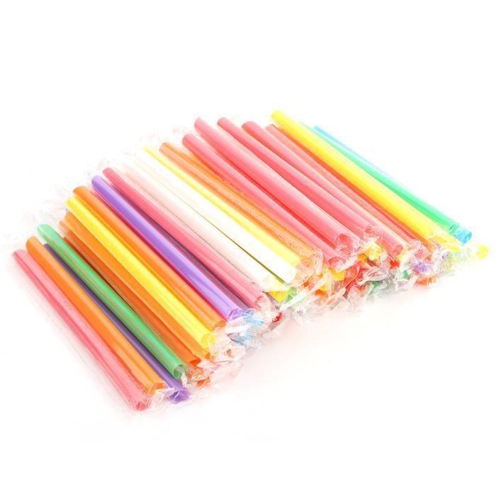 Atyhao paille en plastique Pailles larges jetables en plastique colorées de paille à boire 100PCS pour des couleurs mélangées de