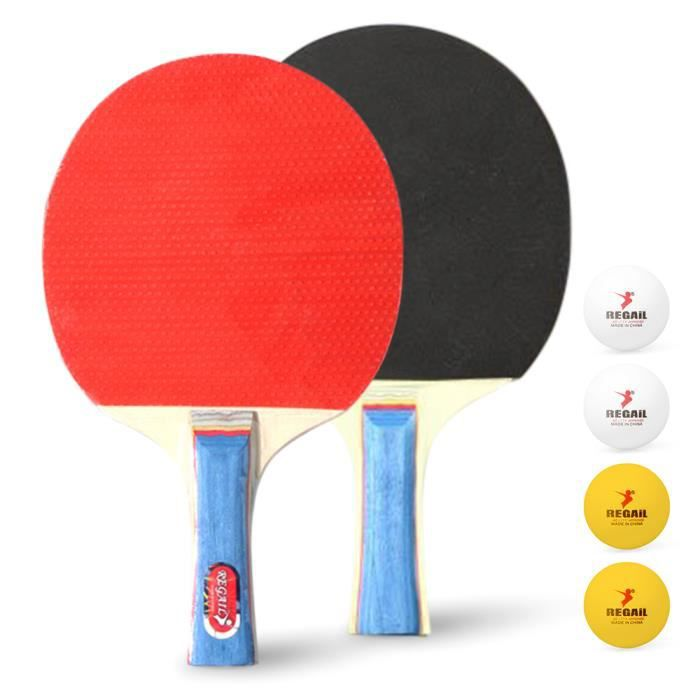Raquettes de ping-pong de haute qualité 2 Raquettes de tennis de table à manche long et 4 balles