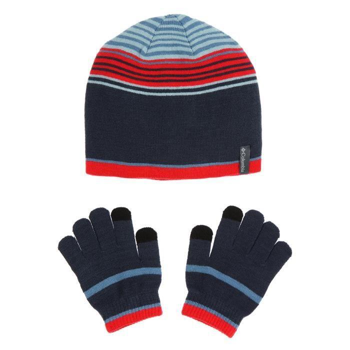 COLUMBIA Pack Gants + Bonnet - Enfant - Bleu et rouge