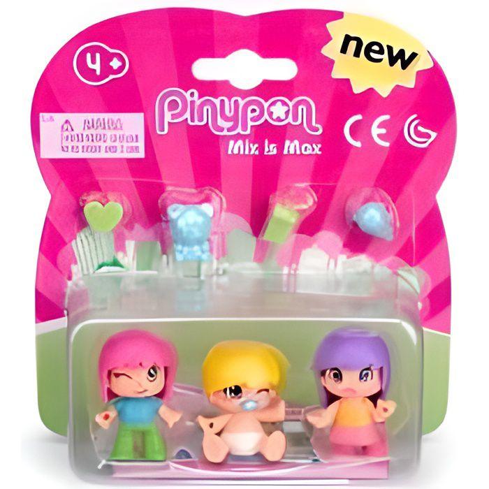 Pack Pinypon Mix is Max 3 figurines bebe et enfants avec accessoires - Personnage Mini poupee - Monde minature Fille