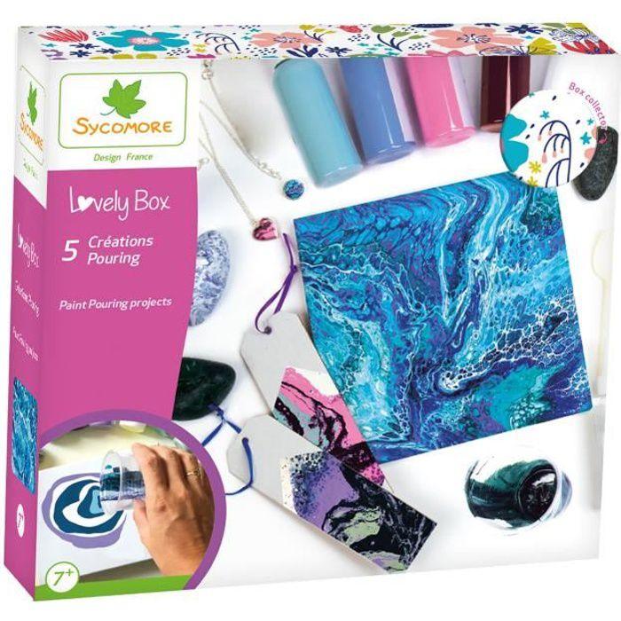 SYCOMORE - Kit de loisir créatif enfant - Créations Pouring - 5 projets - DIY - Lovely Box Collector - Dès 7 ans