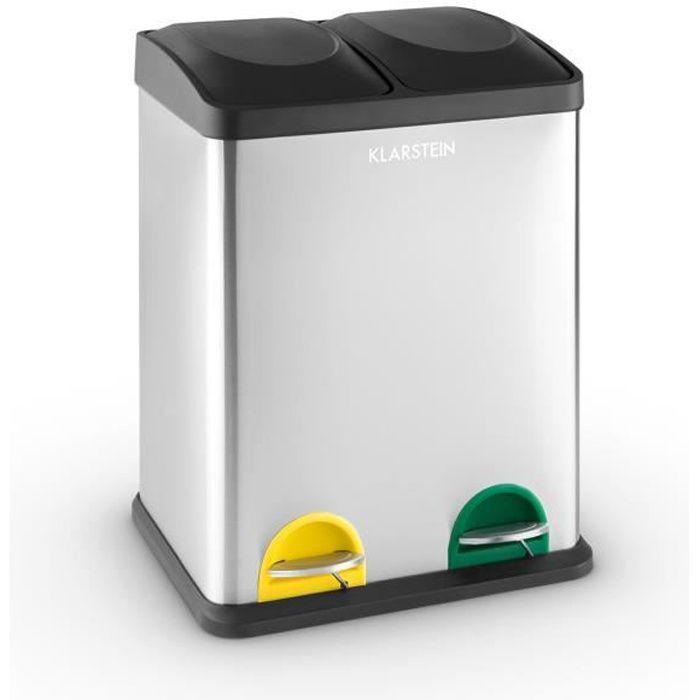Klarstein Ökosystem - Poubelle de cuisine à pédale en acier inox avec 2 compartiments de 18L pour le tri selectif