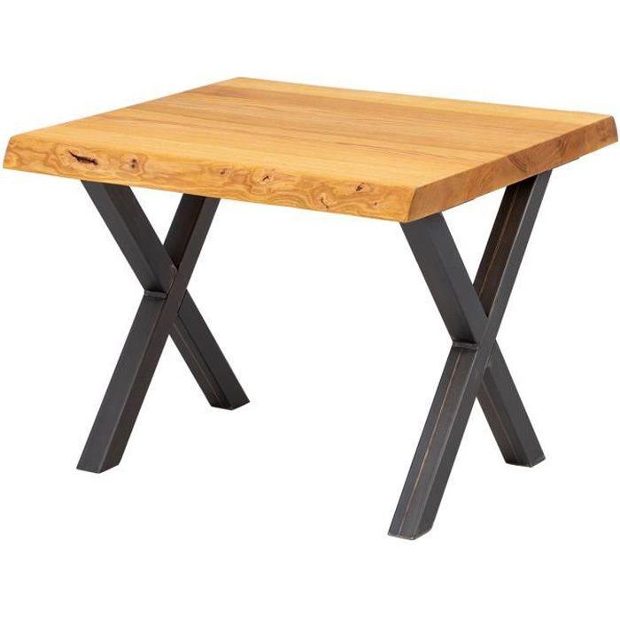 LAMO MANUFAKTUR Table basse en bois - industriel - salon - 60x60x47cm - frêne rustique - pieds métal acier brut - modèle design