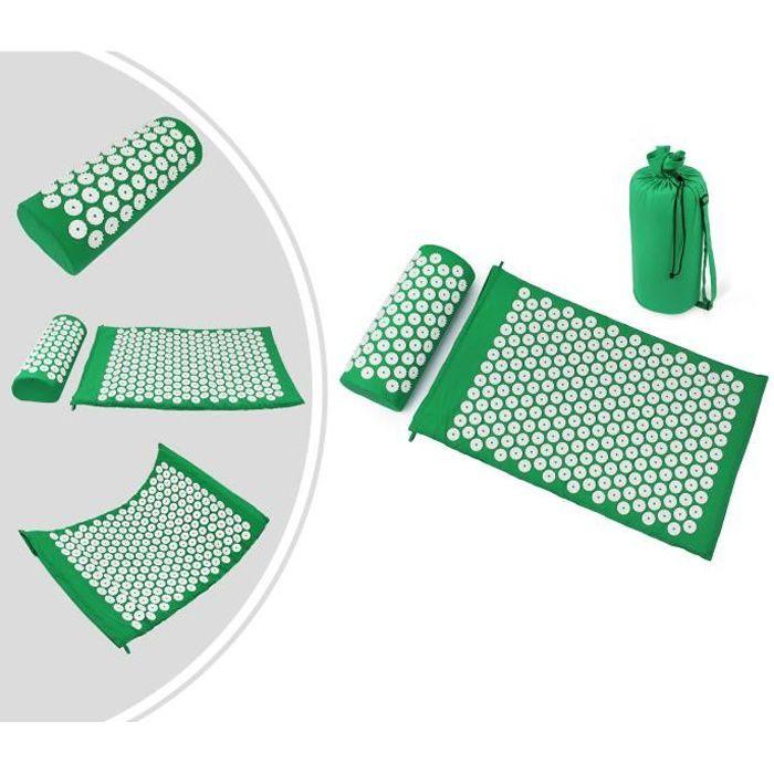 Kit d'Acupression avec Tapis et Coussin, Matelas de Relaxation, Vert, avec sac et coussin, Standards-Certifications: ROHS
