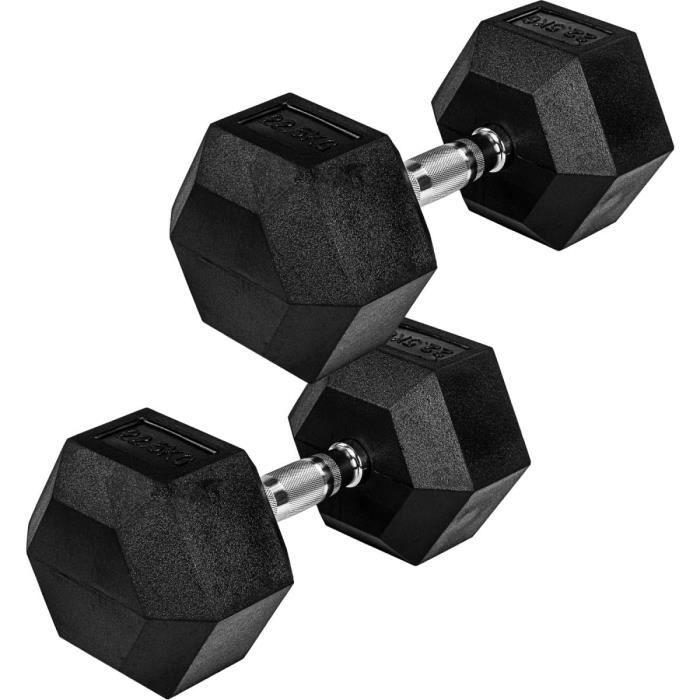 Movit® haltère hexagonal, Dumbbells en fonte avec revêtement caoutchouc, 2x22,5 kg, barre chromée, moletée et antidérapante