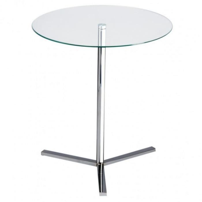 TABLE RONDE EN VERRE TRANSPARENT