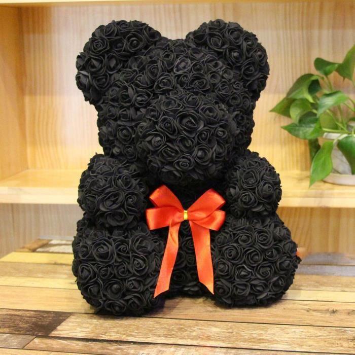 Amour Rose Ours Idéal anniversaire cadeau câlin ours éternelle fleur Saint Valentin cadeau 25 cm - noir avec Cadeau boite transparen