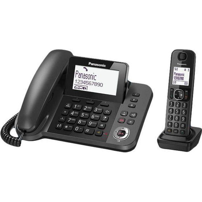 Panasonic KX-TGF320E, Téléphone DECT, Haut-parleur, 100 entrées, Identification de l'appelant, Noir