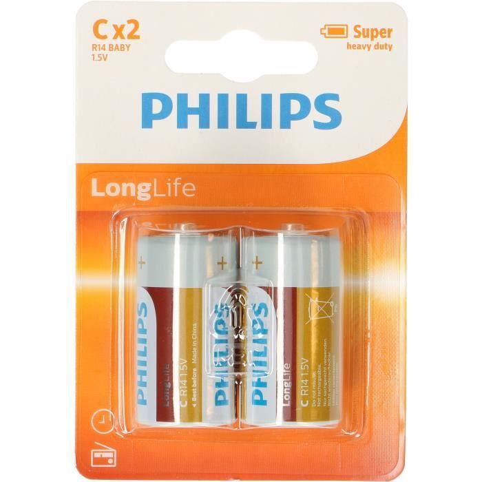 PHILIPS Piles R14 / C Longlife - 1,5 V - Pack de 2