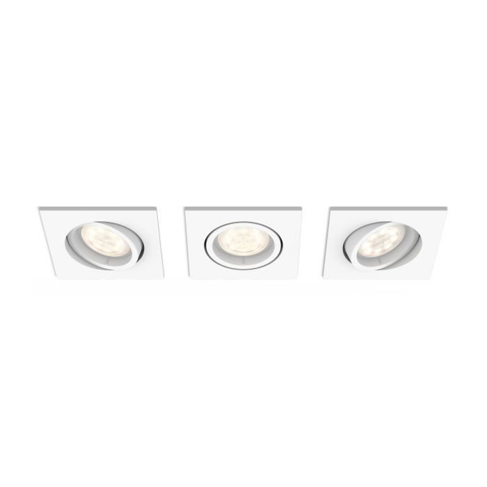 Philips myLiving Spot à encastrer 5039331P0, Recessed lighting spot, 3 ampoule(s), LED, 4,5 W, 500 lm, Blanc