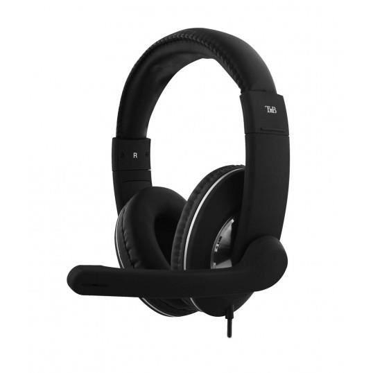 TNB CSMHS500 - HS-500 - Micro-casque filaire USB multimédia à réduction de bruit - Son HD - Noir