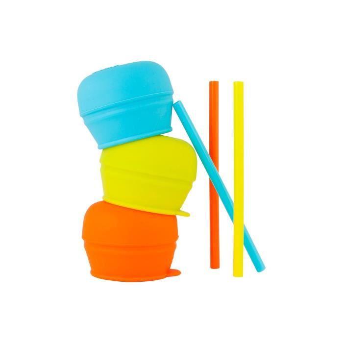 TOMY Snug Straw 3 Couvercles universaux et 3 Pailles en silicone