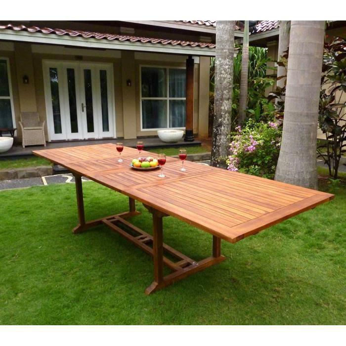 Table de jardin XXL en teck 200-300 cm