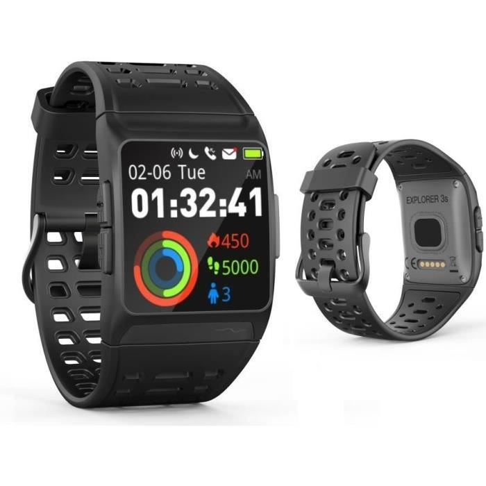 WEE PLUG Explorer 3s Montre Connectée - GPS - Cardio - Bluetooth - Multisports - IP68 - Noir/Gris