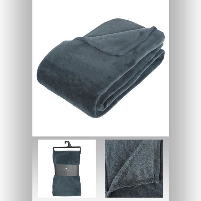 plaid polaire microfibre bleu orage 180x230cm achat vente couverture plaid cdiscount. Black Bedroom Furniture Sets. Home Design Ideas
