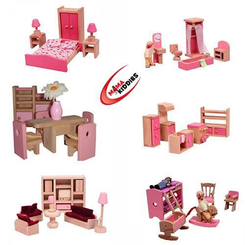 meubles et plus de 40 maison de poup es 4dolls achat vente maison poup e cdiscount. Black Bedroom Furniture Sets. Home Design Ideas