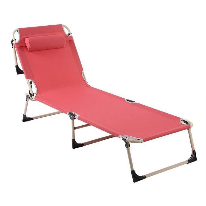 Chaise Longue Camping Chaise Longue 150 kg de jardin transat longue Chaise Plage Chaise Longue