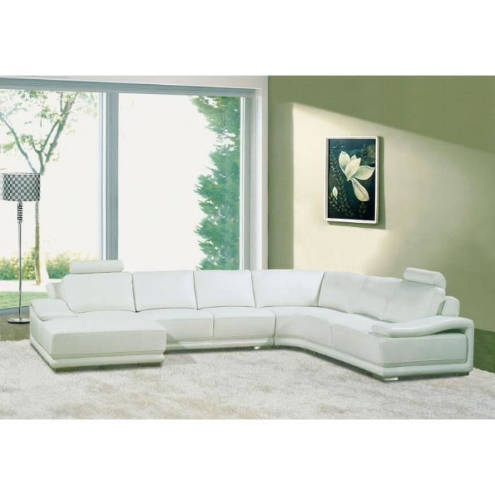 canap d 39 angle panoramique cuir blanc achat vente canap sofa divan cuir bois. Black Bedroom Furniture Sets. Home Design Ideas