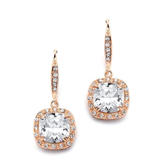 Womens 14k Rose Gold Plated Cushion Cut Cubic Zirconia Wedding Bridal Cz Earrings With Pave French IR1DO