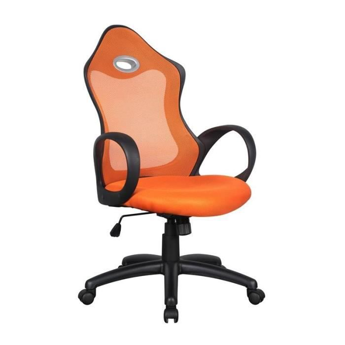 chaise de bureau racing pivotante orange noire myco01687 achat vente chaise de bureau. Black Bedroom Furniture Sets. Home Design Ideas