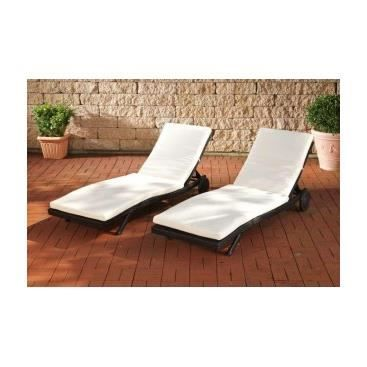 lot de 2 chaises longues de jardin guerrino noir achat vente chaise longue lot de 2. Black Bedroom Furniture Sets. Home Design Ideas