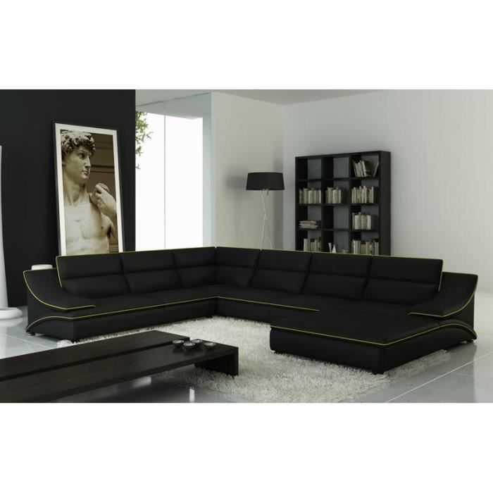 grand canap d 39 angle en cuir noir et vert design achat vente canap sofa divan cuir. Black Bedroom Furniture Sets. Home Design Ideas