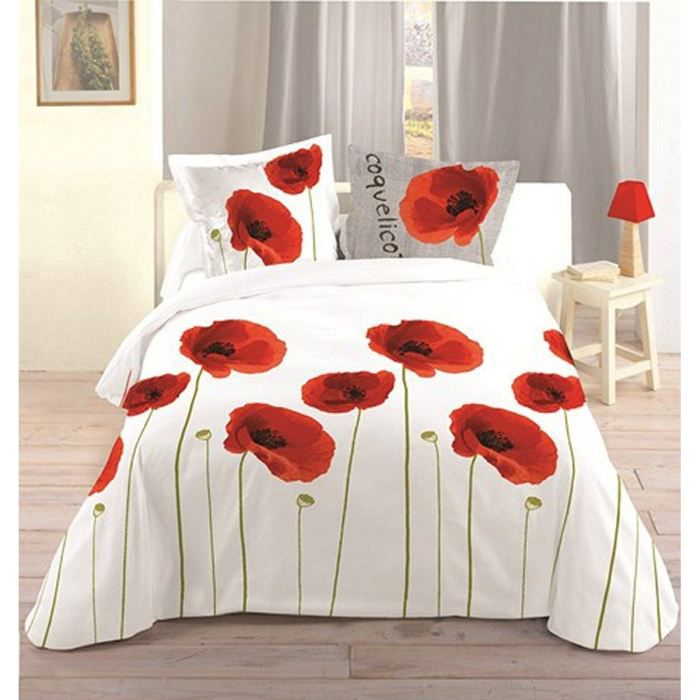parure 3 pieces coquelicot achat vente parure de couette cdiscount. Black Bedroom Furniture Sets. Home Design Ideas