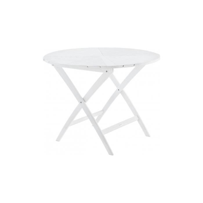table de jardin ronde pliable bois balau blanc achat. Black Bedroom Furniture Sets. Home Design Ideas