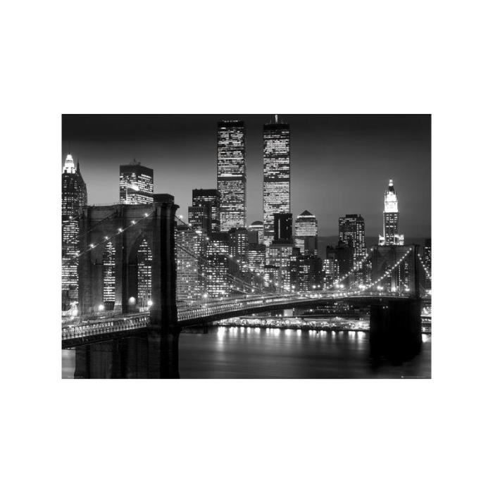 Poster geant new york brooklyn bridge night achat for Decoration murale geante new york