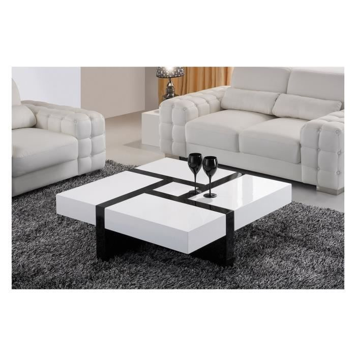 table basse carr e noir et blanc laqu avec 4. Black Bedroom Furniture Sets. Home Design Ideas