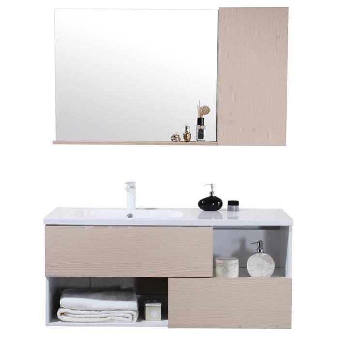 Meuble de salle de bain simple vasque avec miroir étagère, ensemble de  salle de bain Bois clair-nature