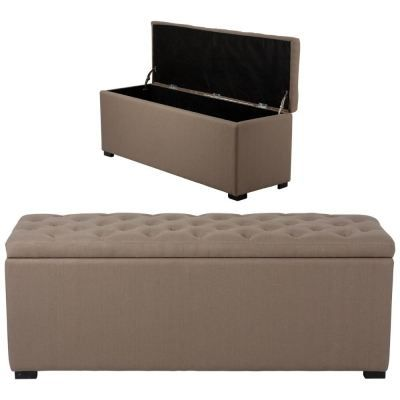 banquette coffre capitonn e lin taupe achat vente. Black Bedroom Furniture Sets. Home Design Ideas