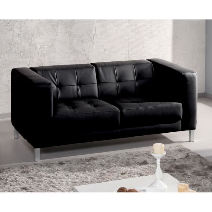 canap simili capitonn design pieds m tal charlton noir2 places achat vente canap sofa. Black Bedroom Furniture Sets. Home Design Ideas