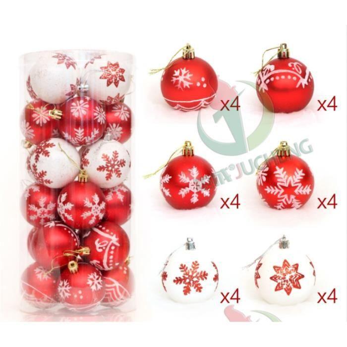Decoration sapin de noel rouge et blanc