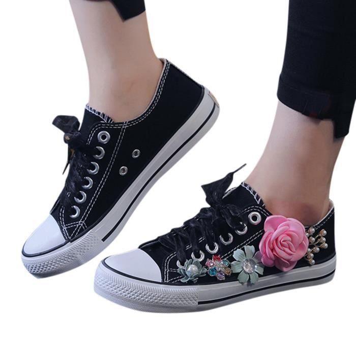 Le glissement des femmes sur Mocassins Flats respirante et chaussures de sport de fleurs Lady Noir