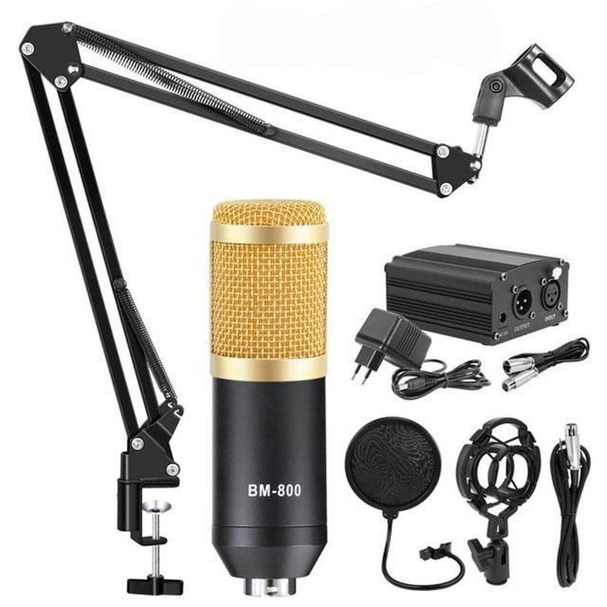Microphone /à condensateur USB 192KHz//24Bit Podcast Studio avec support bras pliable et dautres Kit Microphone USB