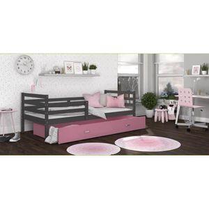 LIT COMPLET LIT ENFANT MILO 90x190 GRIS ROSE Livré avec tiroir