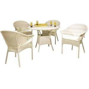 Table ronde de jardin en resine achat vente table for Salon resine blanc