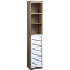 COLONNE - ARMOIRE SDB Armoire haute de salle de bain blanc/brun - 6 étag